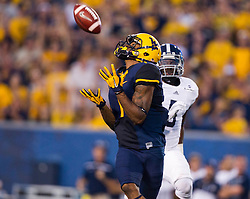 Sep 5, 2015; Morgantown, WV, USA; West Virginia Mountaineers wide receiver Shelton Gibson makes a catch during the first half against the Georgia Southern Eagles at Milan Puskar Stadium. Mandatory Credit: Ben Queen-USA TODAY Sports