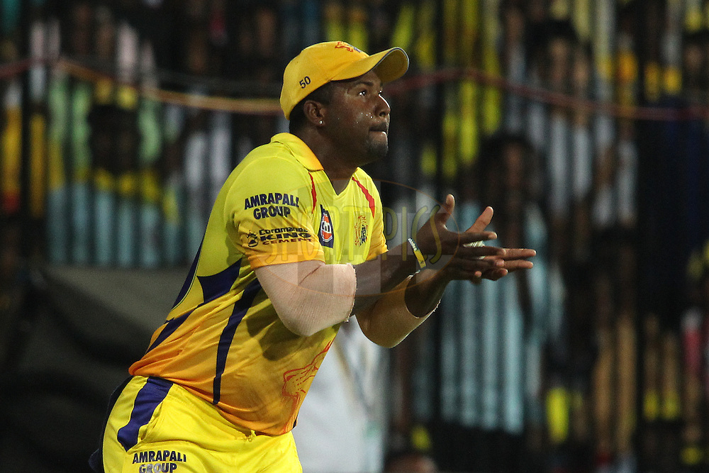 Dwayne Smith of Chennai Super Kings takes the catch to get Sarfaraz Naushad Khan of the Royal Challengers Bangalore wicket during match 37 of the Pepsi IPL 2015 (Indian Premier League) between The Chennai Superkings and The Royal Challengers Bangalore held at the M. A. Chidambaram Stadium, Chennai Stadium in Chennai, India on the 4th May April 2015.<br /> <br /> Photo by:  Shaun Roy / SPORTZPICS / IPL