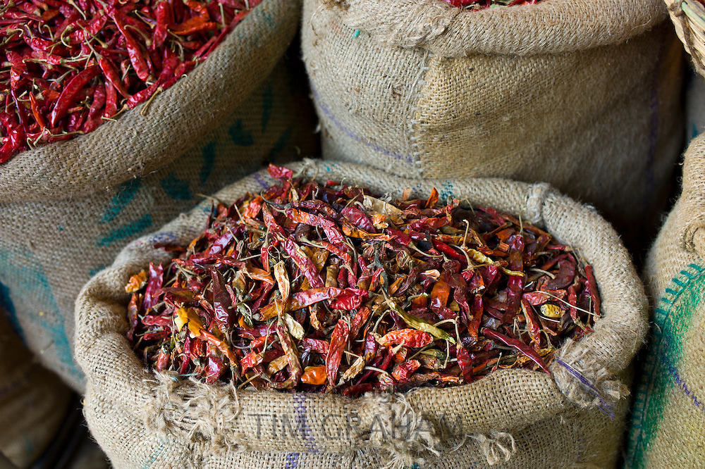 Red chillies on sale at Khari Baoli spice and dried foods market, Old Delhi, India