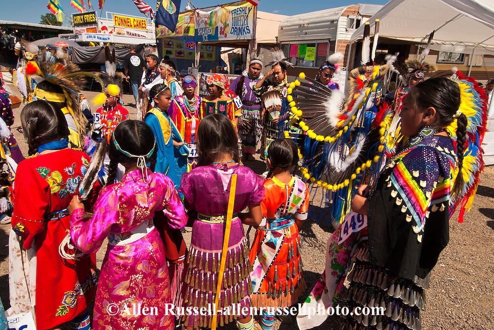 Kids, Crow Fair, powwow, Grand Entry, Crow Indian Reservation, Montana.