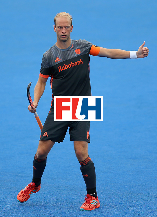 LONDON, ENGLAND - JUNE 24: Billy Bakker of the Netherlands in action during the semi-final match between England and the Netherlands on day eight of the Hero Hockey World League Semi-Final at Lee Valley Hockey and Tennis Centre on June 24, 2017 in London, England. (Photo by Steve Bardens/Getty Images)