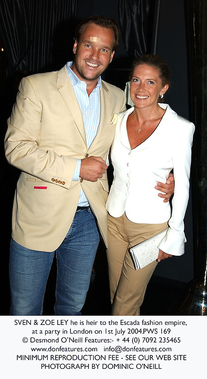 SVEN & ZOE LEY he is heir to the Escada fashion empire, at a party in London on 1st July 2004.PWS 169