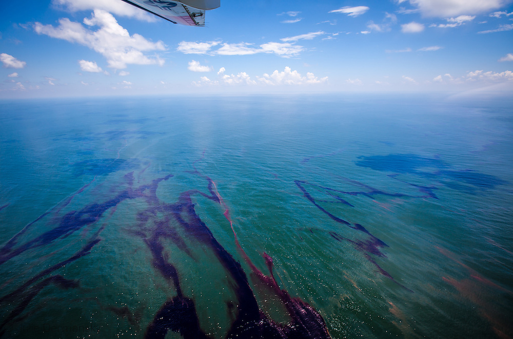 6-26- 2010- Arial view of oil on the surface of the Gulf of Mexico from the  BP Deepwater Horizon well spill.