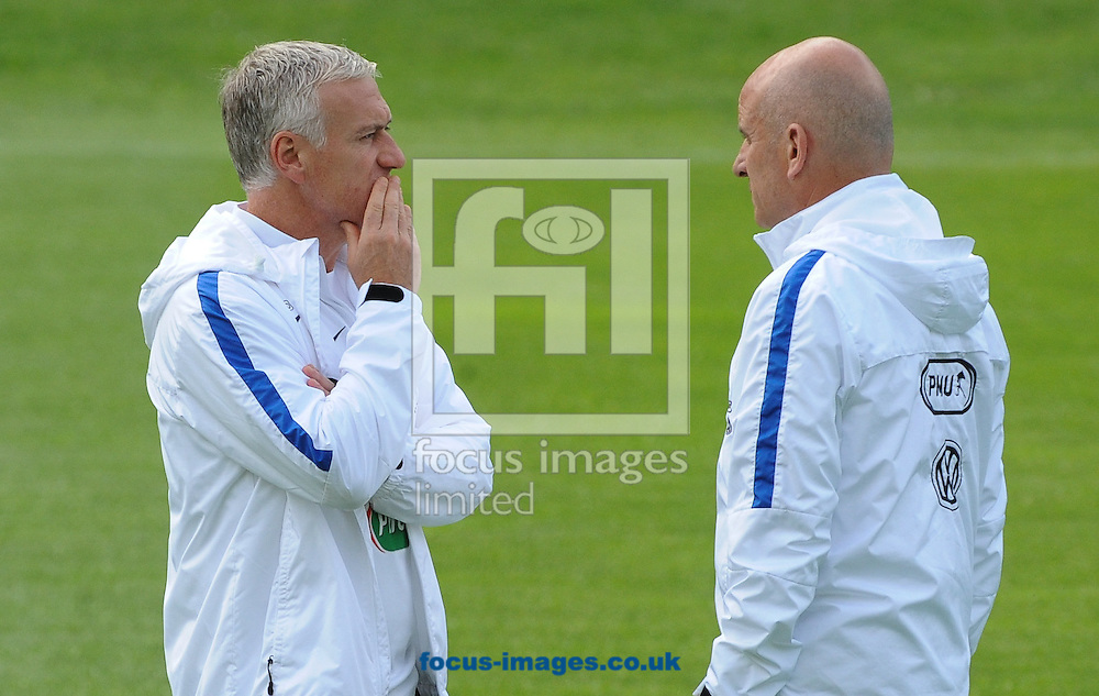 Head coach Didier Deschamps (left) and assistant Stephan Guy during France training at Alpenstadion, Neustift, Austria<br /> Picture by EXPA Pictures/Focus Images Ltd 07814482222<br /> 01/06/2016<br /> ***UK &amp; IRELAND ONLY***<br /> EXPA-SPI-160601-5142.jpg