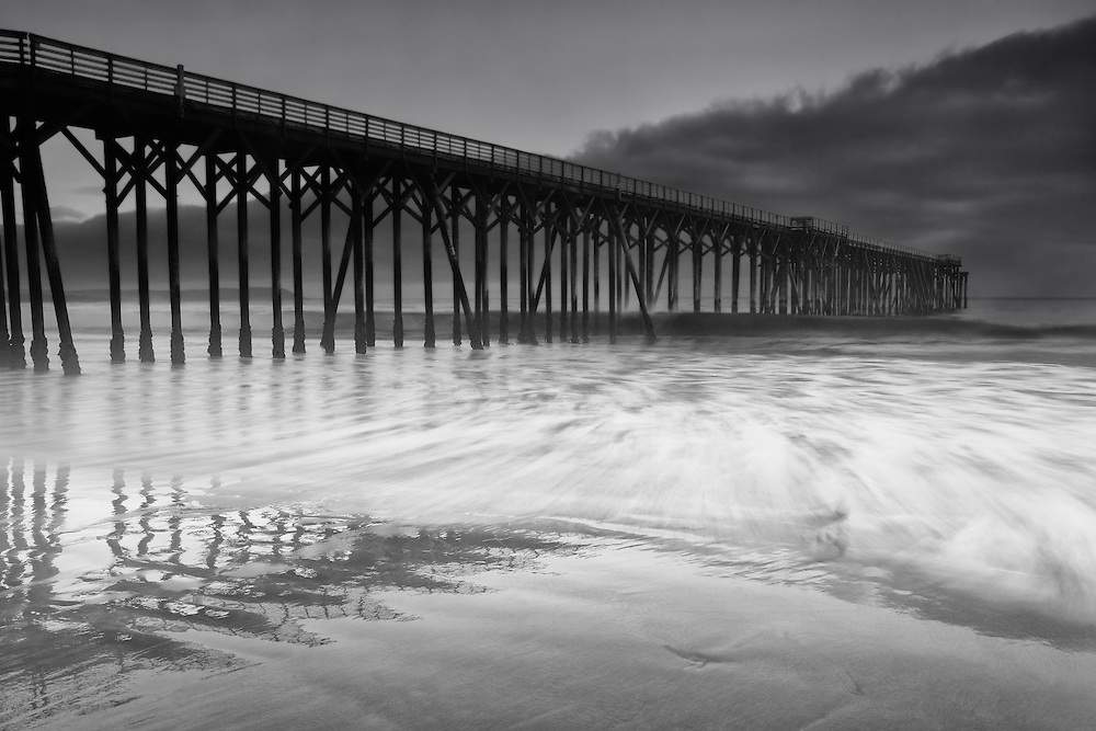 San Simeon Pier Incoming Tide - Dusk -  Black & White