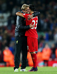 Liverpool manager Jurgen Klopp celebrates with Emre Can  - Mandatory by-line: Matt McNulty/JMP - 22/10/2016 - FOOTBALL - Anfield - Liverpool, England - Liverpool v West Bromwich Albion - Premier League