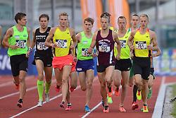 31-07-2015 NED: Asics NK Atletiek, Amsterdam<br /> Nk outdoor atletiek in het Olympische stadion Amsterdam /  Nils Pennekamp #505, winnaar Jurjen Polderman #170, Dennis Licht #120, Richard Douma #761