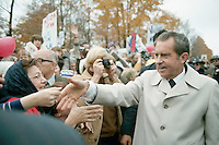 1972, Ohio, USA --- Richard Nixon Shaking Hands with Supporters --- Image by © Owen Franken/CORBIS