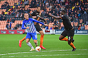 Hartlepool United striker Lewis Alessandra (15) tries to  get past defence during the EFL Sky Bet League 2 match between Barnet and Hartlepool United at Underhill Stadium, London, England on 29 October 2016. Photo by Jon Bromley.