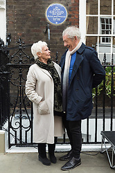 April 27, 2017 - London - Dame Judi Dench and SIR IAN MCKELLEN unveil an English Heritage Blue Plaque at the London home of Sir John Gielgud where he lived for 31 years. (Credit Image: © Ray Tang/London News Pictures via ZUMA Wire)