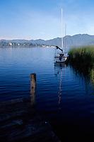 A sailboat on Lake Atitlan, Santiago Atitlan, Guatemala
