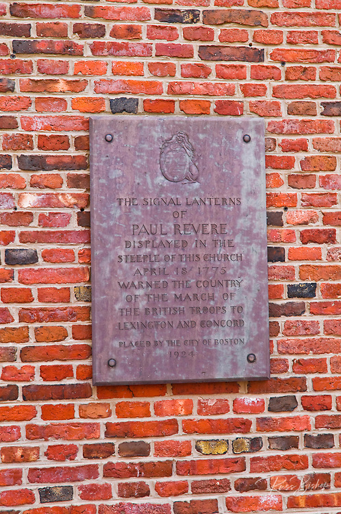 Plaque on the Old North Church describing Paul Revere's ride, Freedom Trail, Boston, Massachusetts