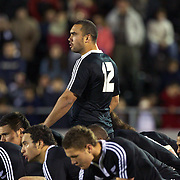 Charlie Ngatai (12) performs the Haka with his New Zealand team mates before the Australia V New Zealand Final match at the IRB Junior World Championships in Argentina. New Zealand won the match 62-17 at Estadio El Coloso del Parque, Rosario, Argentina. 21st June 2010. Photo Tim Clayton...