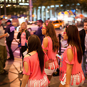 September 26, 2012 - New York, NY : Swedish dance music DJ, remixer, and record producer, Avicii, performs at Radio City Music Hall in Manhattan on Wednesday evening. Pictured here, fans in matching outfits walk down the sidewalk on the 6th Avenue side of Radio City Music Hall before the show. CREDIT: Karsten Moran for The New York Times