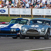 1963 AC Cobra driven by Philip Kadoorie/Marino Franchitti and 1965 Chevrolet Corvette Stingray driven by Craig Davies/Steve Soper in the RAC TT Celebration race at Goodwood Revival 2019