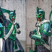 Two views of cosplay attendee in his costume, as  Arcane Green Lantern posing for the camera at the New York Comic Con Convention.<br />