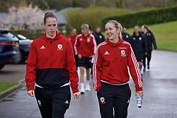 CARDIFF, WALES - Thursday, April 4, 2019: Wales' goalkeeper Laura O'Sullivan (L) and Cori Williams during a pre-match team walk at the Vale Resort ahead of an International Friendly match between Wales and Czech Republic at Rodney Parade. (Pic by David Rawcliffe/Propaganda)