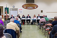 After Nassau County Coalition of Civic Associations installs Board Directors, on Tuesday, April 17, 2012, at Lido Beach, New York, USA, the County's proposal to lease sewage treatment plants, and legislature redistricting, are among concerns discussed. Executive Directors to the Board present were these civic leaders (left to right at table): George Pombar of Glen Head, Phil Healey; Patrice Benneward of Glenwood Landing, Raymond Pagano of Oceanside, Claudia Borecky of North Merrick, Phil Franco of Seaford, and Greg Naham of Lido Beach. The non-partisan group believes transparency and public oversight are necessary to protect residents.