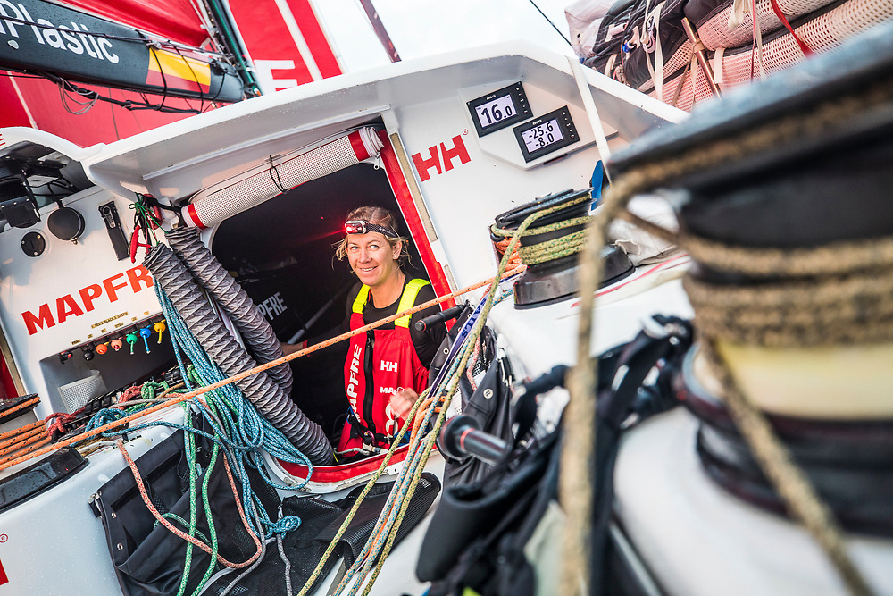 Leg 6 to Auckland, day 03 on board MAPFRE, Sophie Ciszek talking with the crew on deck. 09 February, 2018.