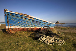 July 21, 2019 - Weathered Fishing Boat On Shore, Holy Island, Bewick, England (Credit Image: © John Short/Design Pics via ZUMA Wire)