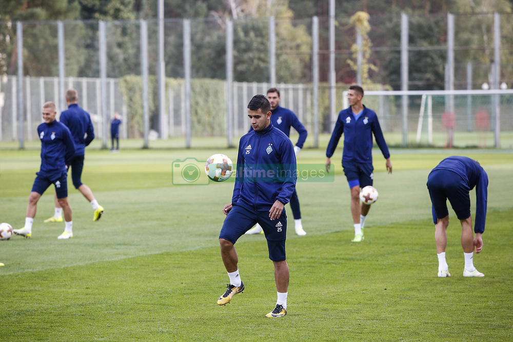 September 13, 2017 - Kiev, Ukraine - Dynamo Kyiv's player Derlis Gonzalez (C) attends a training session  in Kyiv, Ukraine, September 13, 2017. FC Dynamo Kyiv gets the last preparation before the game against Albanian Skenderbeu in the UEFA Europa League Group B opener. (Credit Image: © Sergii Kharchenko/NurPhoto via ZUMA Press)