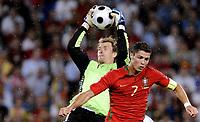 EURO 2008 Quarter Final  St Jakobs Park Basel M25  Germany v Portugal 19/06/2008<br /> Jens Lehmann (GER) klaert vor Cristiano Ronaldo (POR). <br /> <br /> Tyskland - Portugal<br /> <br /> Norway only