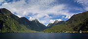 Panoramic view of the Crooked Arm of Doubtful Sound, Fiordland National Park, New Zealand; 22 Sept 2012