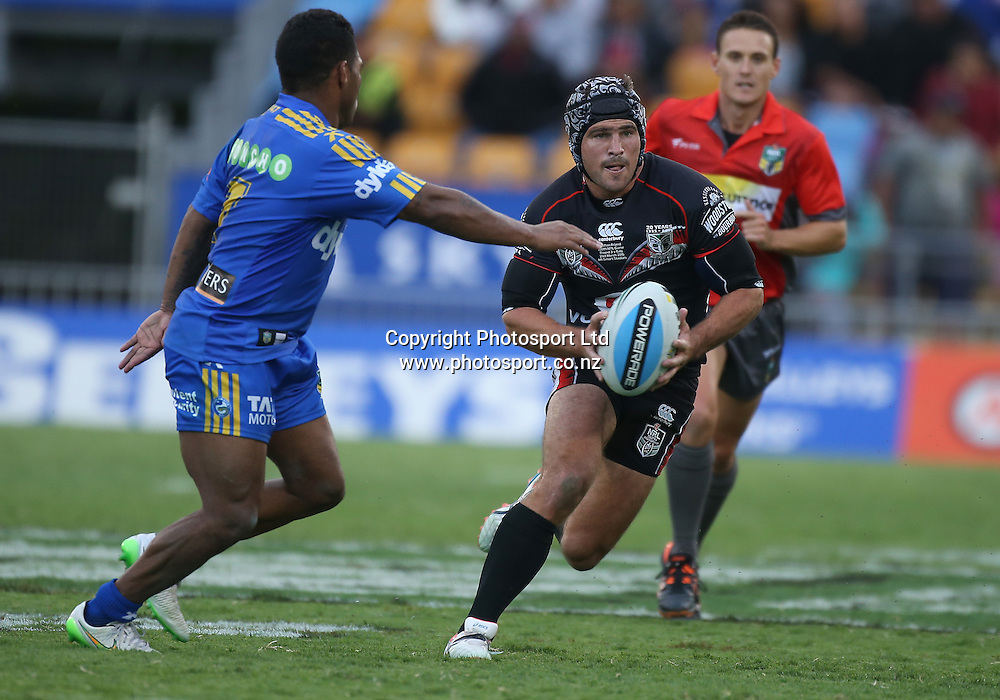 Warriors player Nathan Friend in action during the NRL Rugby League match between the NZ Warriors and the Parramatta Eels played at Mt Smart Stadium in South Auckland on the 21st March 2015. <br /> <br /> Copyright Photo; Peter Meecham/ www.photosport.co.nz