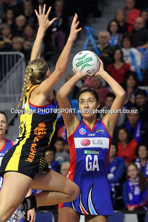 Mystics' Maria Tutaia shoots against Magic's Casey Williams. ANZ Netball Championship, Preliminary Final, Waikato/BOP Magic v LG Northern Mystics. Mystery Creek Events Centre, Hamilton, New Zealand. Sunday 15th May 2011. Photo: Anthony Au-Yeung / photosport.co.nz