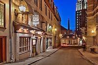 Blue hour on Restaurant Café de la Paix, Québec city, Canada<br /> Heure bleue au restaurant Café de la Paix, rue des Jardins, ville de Québec, Canada