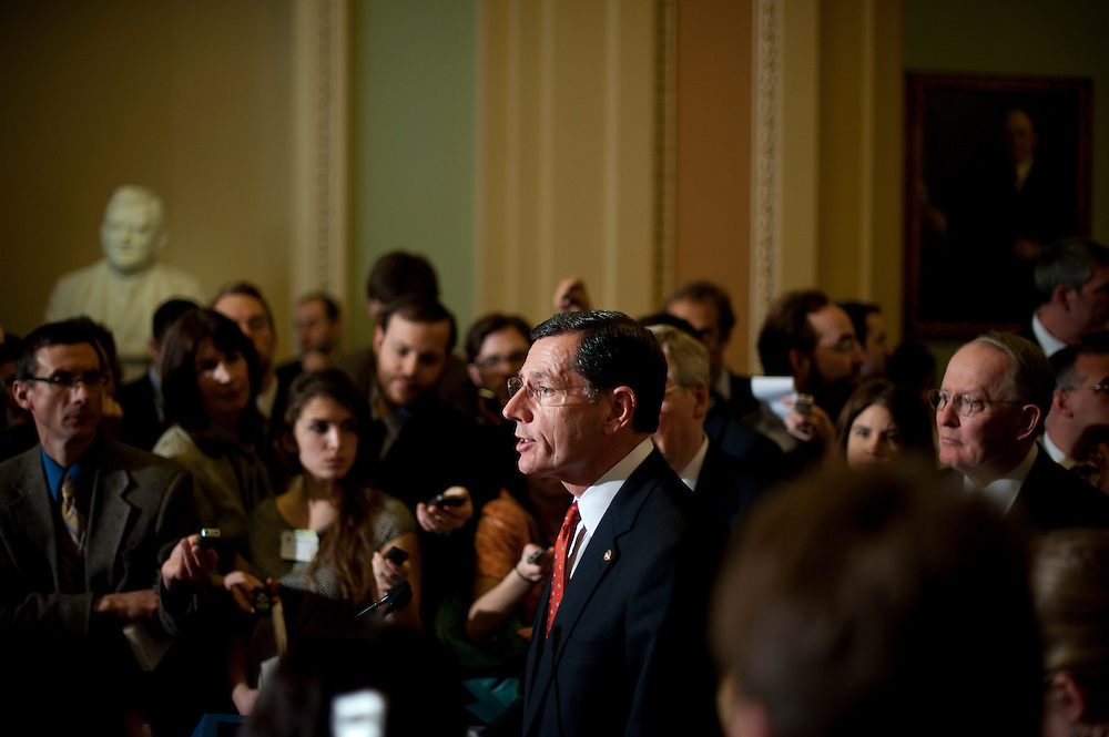 Senator JOHN BARRASSO (R-WY) speaks at a press conference outside of the Senate Chamber following the weekly party caucus lunches on Tuesday at the U.S. Capitol.