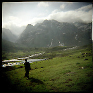 Landscape of a trek in the Himalayas near Vishnasar Kashmir