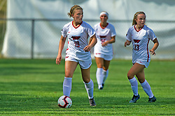 NORMAL, IL - August 10:  Michaela Kirschten & Katharine Ashley during a nonconference exhibition women's soccer match between the Southern Illinois Edwardsville Cougars and the Illinois State Redbirds August 10 2019 on Adelaide Street Field in Normal IL (Photo by Alan Look)