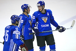 Tuomo Ruutu (15), Sami Lepisto and Mikko Koivu of Finland at ice-hockey game Canada vs Finland at Qualifying round Group F of IIHF WC 2008 in Halifax, on May 12, 2008 in Metro Center, Halifax, Nova Scotia, Canada. Canada won 6:3. (Photo by Vid Ponikvar / Sportal Images)
