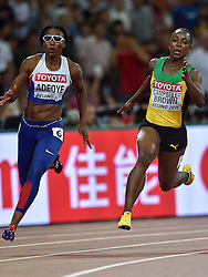 26-08-2015 CHN: IAAF World Championships Athletics day 5, Beijing<br />  Margaret Adeoye GBR and Veronica Campbell Brown (JAM) at 200m Women<br /> Photo by Ronald Hoogendoorn / Sportida