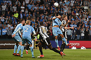 Notts County forward Jonathan Stead (30) heads the ball to Notts County forward Jonathan Forte (14) who is on-side during the EFL Sky Bet League 2 match between Notts County and Coventry City at Meadow Lane, Nottingham, England on 18 May 2018. Picture by Jon Hobley.