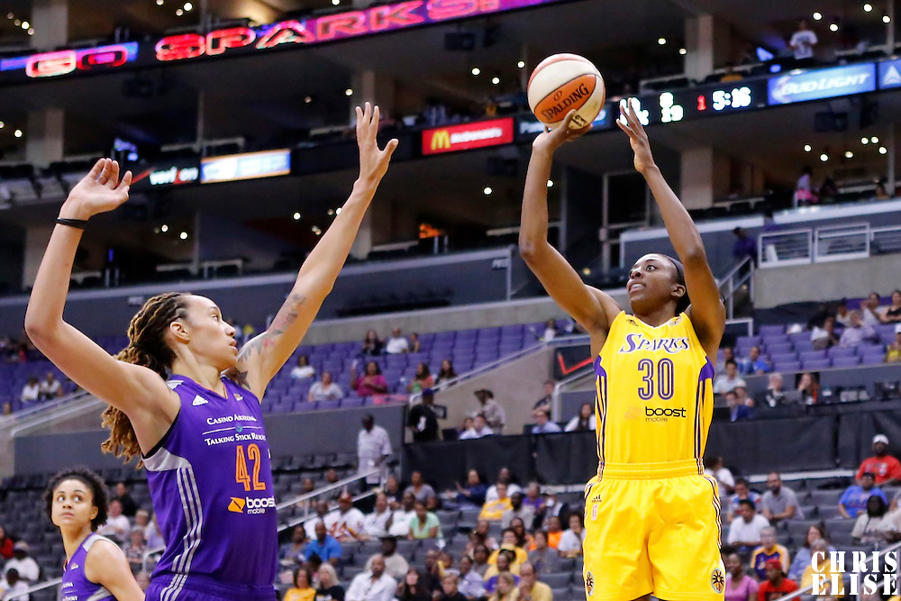 24 August 2014: Los Angeles Sparks forward Nneka Ogwumike (30) takes a jump shot over Phoenix Mercury center Brittney Griner (42) during the Phoenix Mercury 93-68 victory over the Los Angeles Sparks, in a Conference Semi-Finals at the Staples Center, Los Angeles, California, USA.