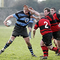 Shannon's Jonathan Morrissey gets hammered by the Ennis defence during their Munster Junior Cup clash in Ennis Rugby Grounds on Sunday.<br /> <br /> Photograph by Yvonne Vaughan.