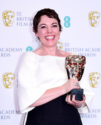 Olivia Colman with her Best Actress in a Leading Role Bafta for The Favourite in the press room at the 72nd British Academy Film Awards held at the Royal Albert Hall, Kensington Gore, Kensington, London.