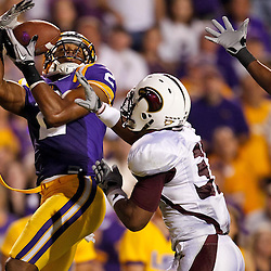 November 13, 2010; Baton Rouge, LA, USA; Louisiana Monroe Warhawks safety Darius Prelow (37) breaks up a pass intended for LSU Tigers wide receiver Rueben Randle (2) during the first half at Tiger Stadium.  Mandatory Credit: Derick E. Hingle