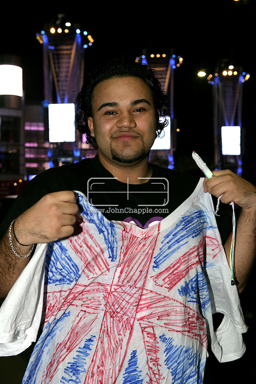 5th December 2007, Los Angeles, California. The Spice Girls preform at the Staples Center in Downtown Los Angeles, which is part of 'The Return Of The Spice Girls' world tour. Pictured is Eric Ocasio, 18, outside the venue before the show..PHOTO © JOHN CHAPPLE / REBEL IMAGES.john@chapple.biz   www.chapple.biz