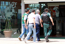 Spanish Guardia Civil escort president of the Spanish Football Federation, Angel Maria Villar on arrival to the Spanish football federation headquarters in Las Rozas, autonomous community of Madrid, Spain, on July 18, 2017 during a raid related to the probe said that Villar is suspected of staging international football matches as part of a scheme to embezzle profits for the benefit of his son. The president of the Spanish Football Federation, Angel Maria Villar, was detained by police today as part of a corruption probe, a judicial source said. Photo by Acero/AlterPhotos/ABACAPRESS.COM