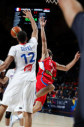 12.09.2014, City Arena, Madrid, ESP, FIBA WM, Frankreich vs Serbien, Halbfinale, im Bild France´s Gobert (L) and Serbia´s Teodosic // during FIBA Basketball World Cup Spain 2014 semifinal match between France and Serbia at the City Arena in Madrid, Spain on 2014/09/12. EXPA Pictures © 2014, PhotoCredit: EXPA/ Alterphotos/ Victor Blanco<br /> <br /> *****ATTENTION - OUT of ESP, SUI*****