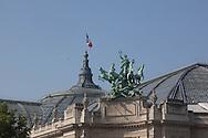 France. Paris 8th. Grand Palais , sculpture on rooftop