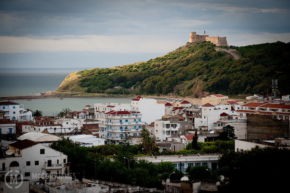 Looking to the Mediterranean Sea with a Genoese castle overlooking the city of Tabarka, Tunisia