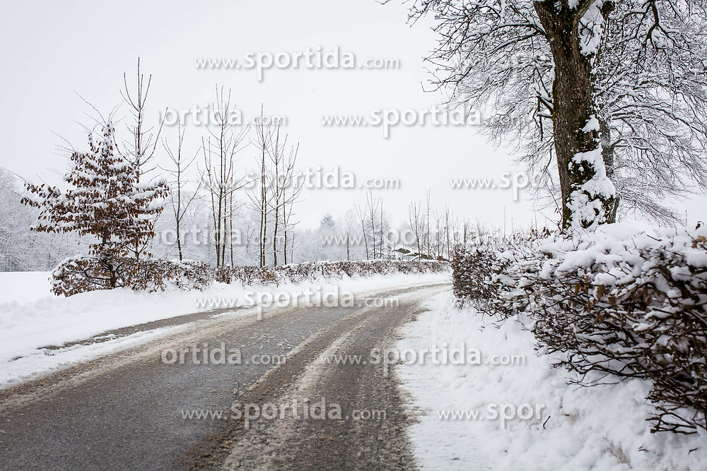 Zasnežene ceste, sneg, snežena cesta, nesplužena cesta, sneži, zasnežena narava, on February 12, 2018 in Kranj, Kranj, Slovenia. Photo by Ziga Zupan / Sportida