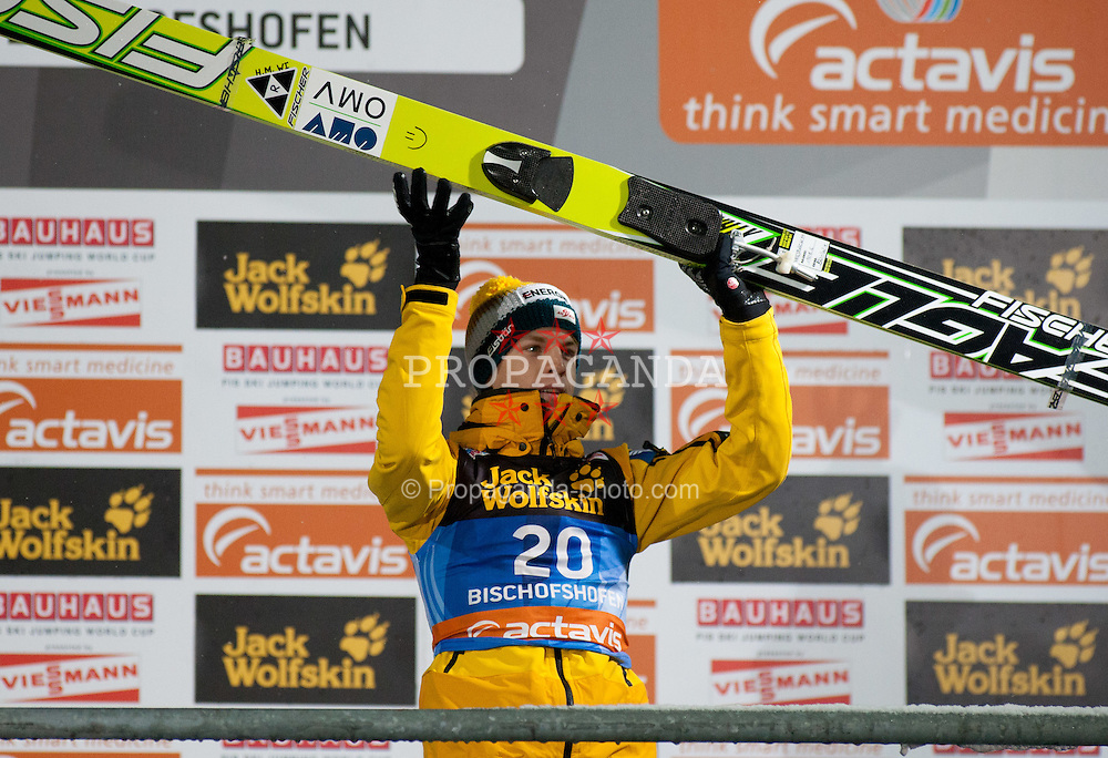 06.01.2012, Paul Ausserleitner Schanze, Bischofshofen, AUT, 60. Vierschanzentournee, FIS Ski Sprung Weltcup, Podium, im Bild Michael Hayboeck (AUT) // Michael Hayboeck of Austria on Podium during 60th Four-Hills-Tournament FIS World Cup Ski Jumping at Paul Ausserleitner Schanze, Bischofshofen, Austria on 2012/01/06. EXPA Pictures © 2012, PhotoCredit: EXPA/ Johann Grod