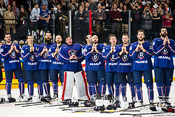 Players of France listening to the National Anthem after winning during the 2017 IIHF Men's World Championship group B Ice hockey match between National Teams of France and Slovenia, on May 15, 2017 in AccorHotels Arena in Paris, France. Photo by Vid Ponikvar / Sportida