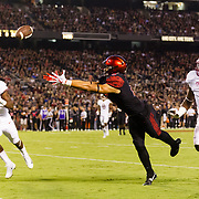 16September 2017:San Diego State Aztecs wide receiver Mikah Holder (6) lays out for pass at the goal line in the second quarter. The pass was incomplete and the Aztecs went on to kick a field goal. The Aztecs lead Stanford 10-7 at half time at San Diego Stadium. <br /> www.sdsuaztecphotos.com