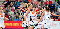 LONDON -  Unibet Eurohockey Championships 2015 in  London. final women  Netherlands v England (2-2) , England wins shoot outs. Dutch team  celebrate the first goal.  middle Naomi van As. WSP Copyright  KOEN SUYK